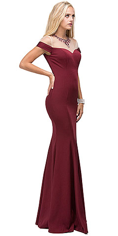 Mock Off-the-shoulder Bejeweled Neck Long Prom Dress. p9752.