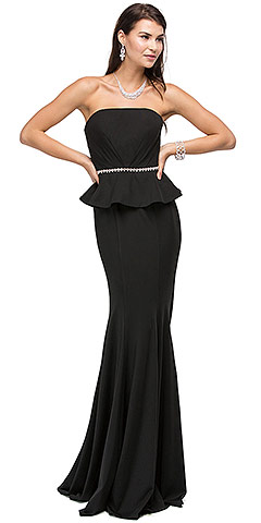 Strapless Peplum Top Rhinestones Waist Long Prom Dress. p9753.