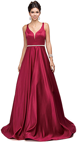 V-Neck Bejewel Waist Floor Length Puffy Prom Pageant Dress. p9754.