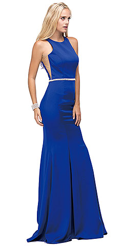Scoop Neck Bejeweled Waist Racerback Long Prom Dress. p9757.