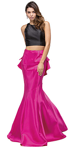 Short Top Long Ruffled Back Skirt Two Piece Prom Dress. p9767.