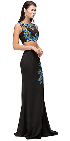 Floral Applique Mesh Top Two Piece Long Prom Dress. p9820.