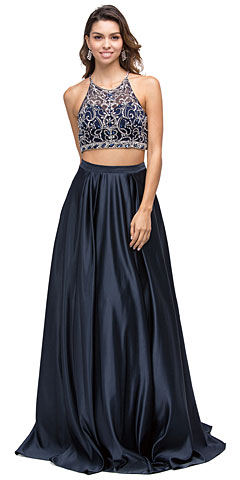 Beaded Racer Back Top Satin Long Prom Two-piece Dress. p9832.