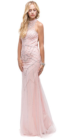 Glamorous Halter Open Back Beaded Prom Dress. p9839.