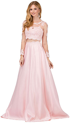 Long Sleeve Lace Top Satin Skirt Two Piece Prom Dress. p9950.
