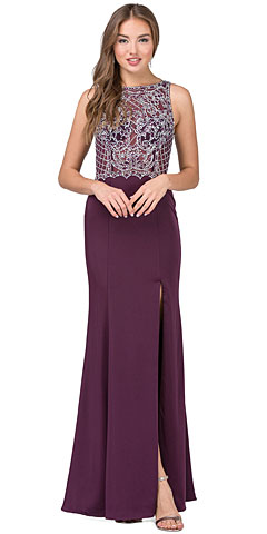 Rhinestones Mesh Top Keyhole Back Long Prom Dress. p9964.