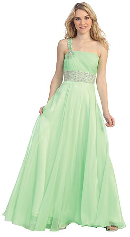 One Shoulder Rhinestones Waist Long Prom Dress. pc1425.