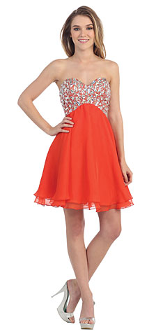 Strapless Bejeweled Bodice Short Prom Dress. pc1561.