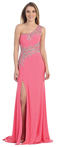 One Shoulder Web Beaded Pattern Long Pageant Dress. pc3272.