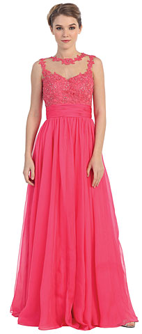 Floral Lace Bust Full Length Formal Prom Dress. pc3285.