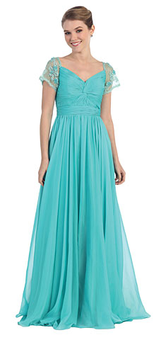 Short Sleeves Twist Knot Bust Long Formal MOB Dress. pc5544.