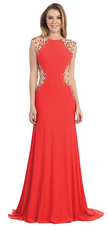 Mesh Rhinestones Bodice Floor Length Prom Pageant Dress. pc6735.