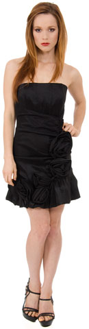 Strapless Fitted Short Party Dress with Floral Appliques
