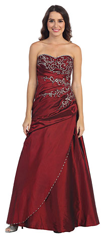 Strapless Asymmetric A-Shape Beaded Long Formal Prom Dress. s11223.