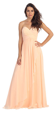 Strapless Crossed Bodice Wrap Skirt Formal Bridesmaid Dress