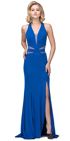 Halter Neck Mesh Panels Front Slit Long Formal Prom Dress. s17214.