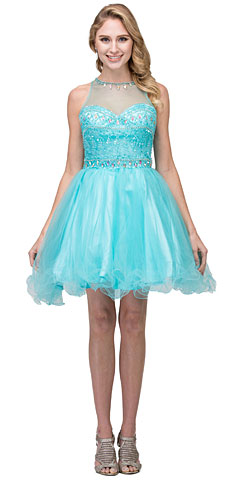 High Neck Bejeweled Bodice Mesh Short Homecoming Dress. s17244.