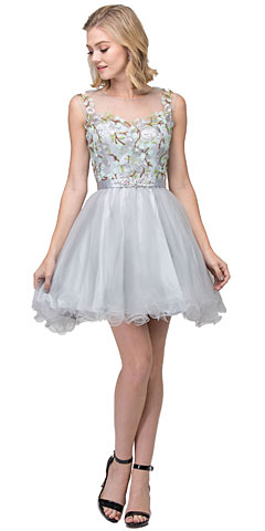 Floral Embroidery Mesh Top Short Tulle Homecoming Dress. s17267.