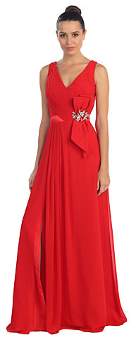 V-Neck Pleated Bow Accent Long Formal Prom Dress. s20263.