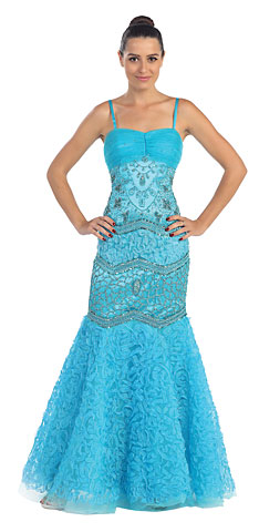 Mermaid Style Beaded Mesh Long Formal Prom Dress. s417.