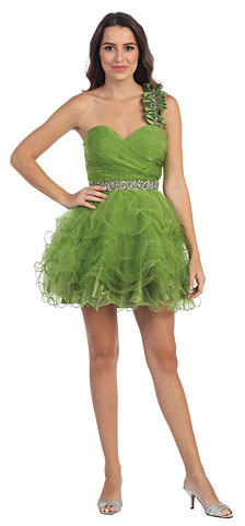 One Shoulder Tiered Skirt Mesh Short Prom Dress . s5103.