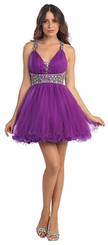Broad Straps Beaded Waist Ruffled Short Prom Dress. s5105.