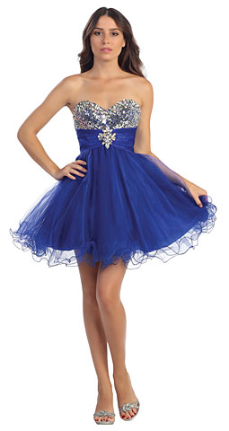 Strapless Beaded Bust Ruffled Skirt Short Party Party Dress. s531.