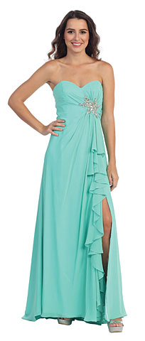 Strapless Long Bridesmaid Dress with Ruffled Side Slit