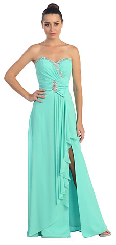 Strapless Bow Accent Sequins Long Formal Prom Dress. s538.