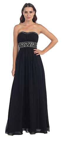 Strapless Beaded Waist Empire Cut Long Formal Dress . s546.