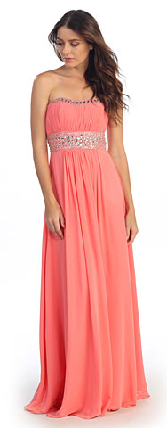Strapless Empire Cut Long Formal Dress with Bejeweled Waist. s546.