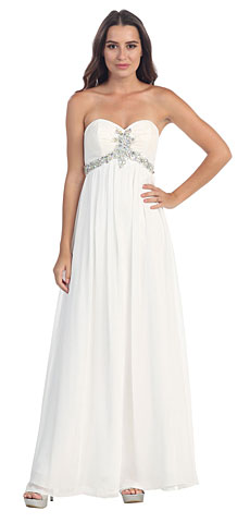 Strapless Rhinestones Bust Long Formal Bridesmaid Dress. s547.