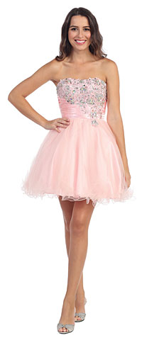 Strapless Rhinestones Bust Short Tulle Homecoming Dress. s587.