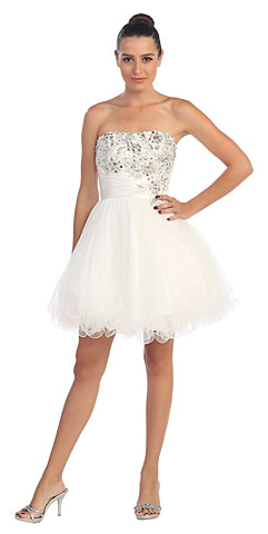 Strapless Rhinestones Bust Short Tulle Prom Party Dress. s587.