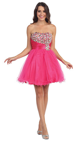 Strapless Rhinestones Bust Short Tulle Homecoming Dress. s588.