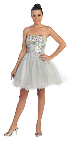 Strapless Rhinestones Bust Short Tulle Prom Party Dress. s588.