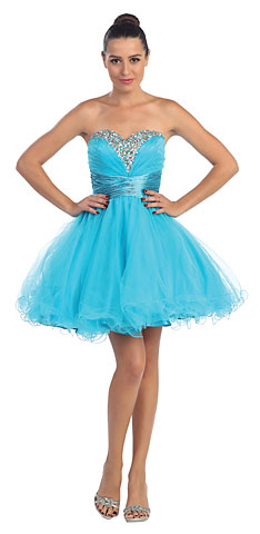 Strapless Sequined Bust Short Tulle Prom Party Dress. s591.