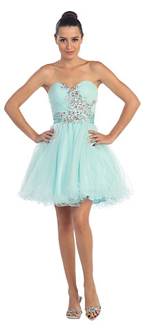 Strapless Rhinestones Bust Short Tulle Prom Party Dress. s594.