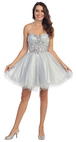 Strapless Rhinestones Bust Short Tulle Homecoming Dress. s594.