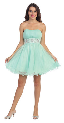 Strapless Pleated Rhinestone Waist Short Homecoming Dress . s6006-1.