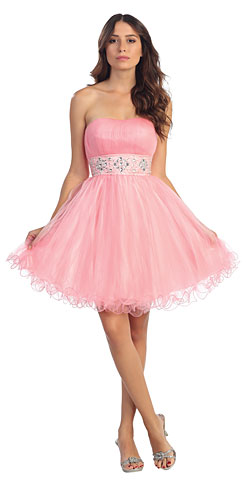 Strapless Short Plus Size Prom Dress with Pleating & Rhinestones. s6006-1.