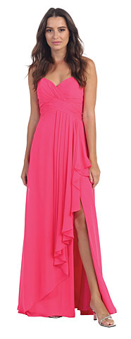 Strapless Pleated & Ruffled Long Bridesmaid Dress