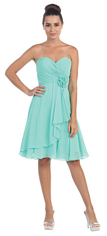 Strapless Floral Accent Short Formal Bridesmaid Dress. s6015-1.