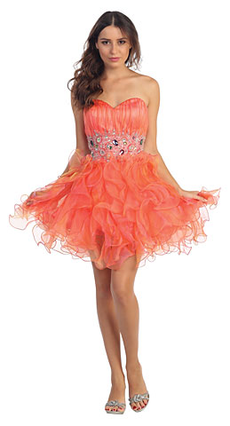 Strapless Rhinestone Waist Ruffled Short Party Prom Dress. s6016.