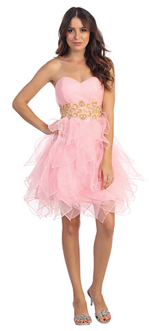 Strapless Layered Skirt Organza Short Party Party Dress. s6018.
