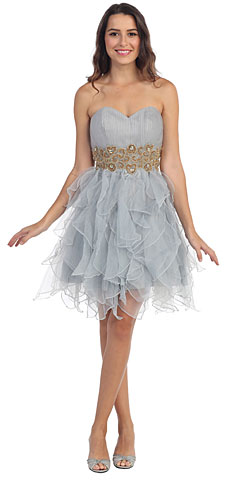 Strapless Layered Skirt Organza Short Party Prom Dress. s6018.