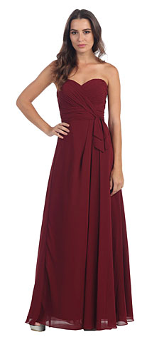 Strapless Pleated Bust Long Formal Bridesmaid Dress. s6023-1.