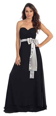 Strapless Bow Accent Long Formal Evening Bridesmaid Dress. s603-1.