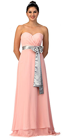 Strapless Bow Accent Long Formal Bridesmaid Dress. s603-1.