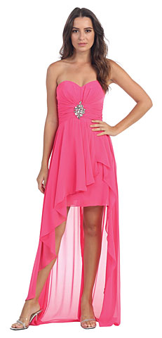 Strapless Hi-Low Overlay Short Formal Prom Dress . s6033-1.